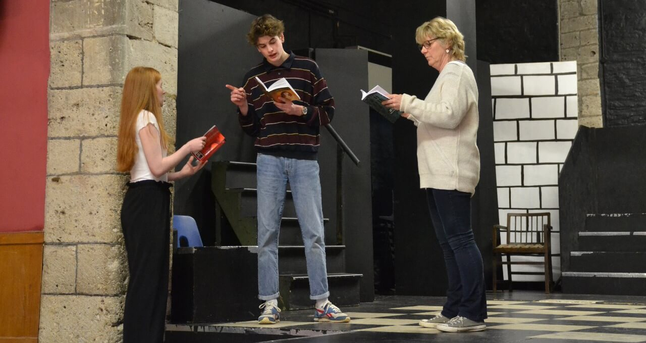 Romeo and Juliet rehearsing with Lou Merrifield